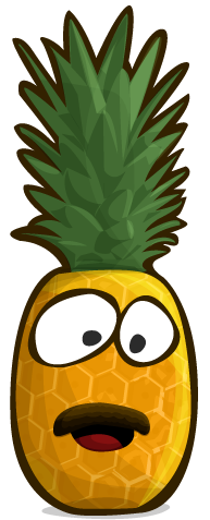 A pineapple with a face. This face includes a Mustache.