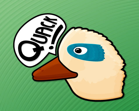 The head of a bird with a word bubble saying 'quack'