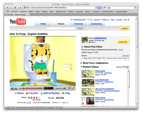 A screenshot of a YouTube page