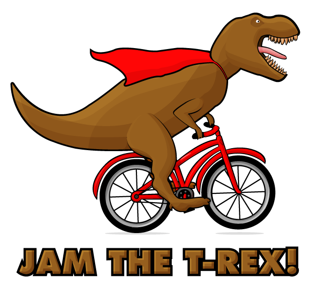 A T-Rex wearing a red cape on a Red bike
