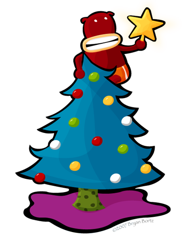 A monkey in a christmas tree holding up a star