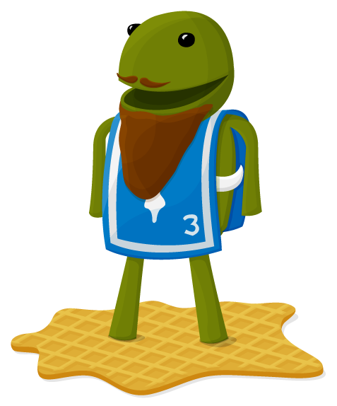 A Froggy standing on a piece of ground with a blue piece of fabric draped over as a shirt