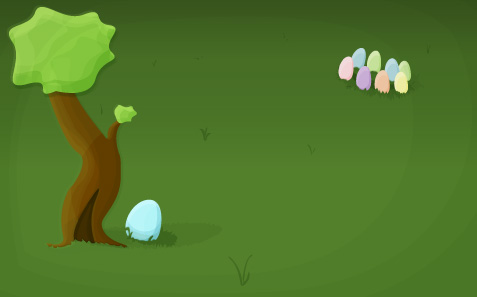 A lonely egg sitting near a tree, while a group of other eggs sits off in the distance.