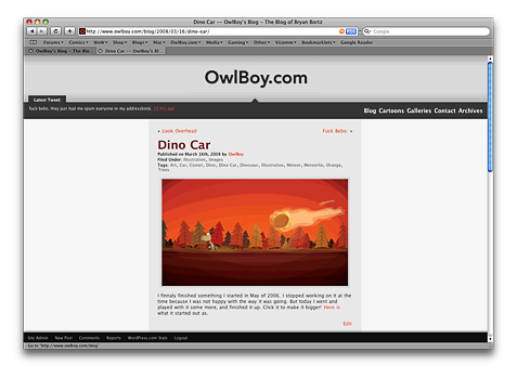 Screenshot of the v0.5 of Major Delay. A WordPress Theme.