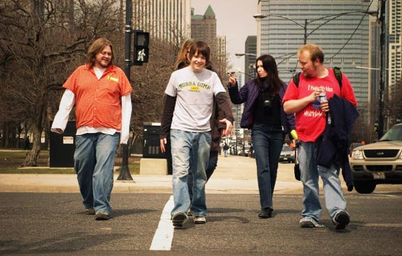 ViComm students crossing a street - sam looks the most bad ass