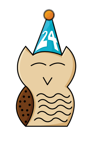 OwlBoy with a birthday hat on which reads 24